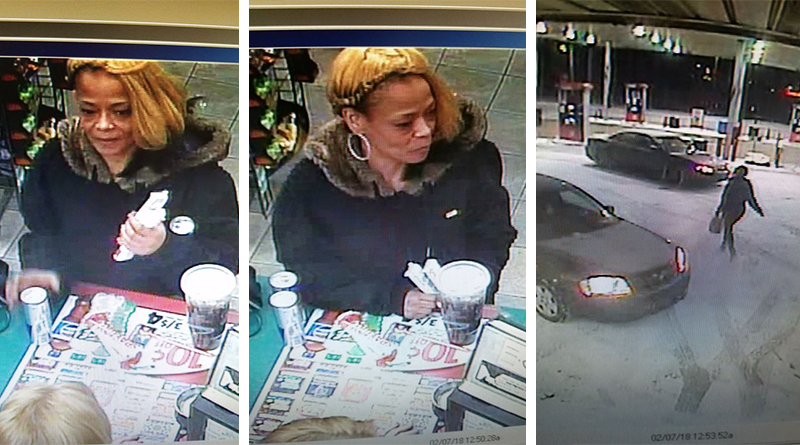 Video surveillance footage shows a woman police are searching for as a person of interest in connection to a theft at a local Speedway gas station Wednesday morning.
