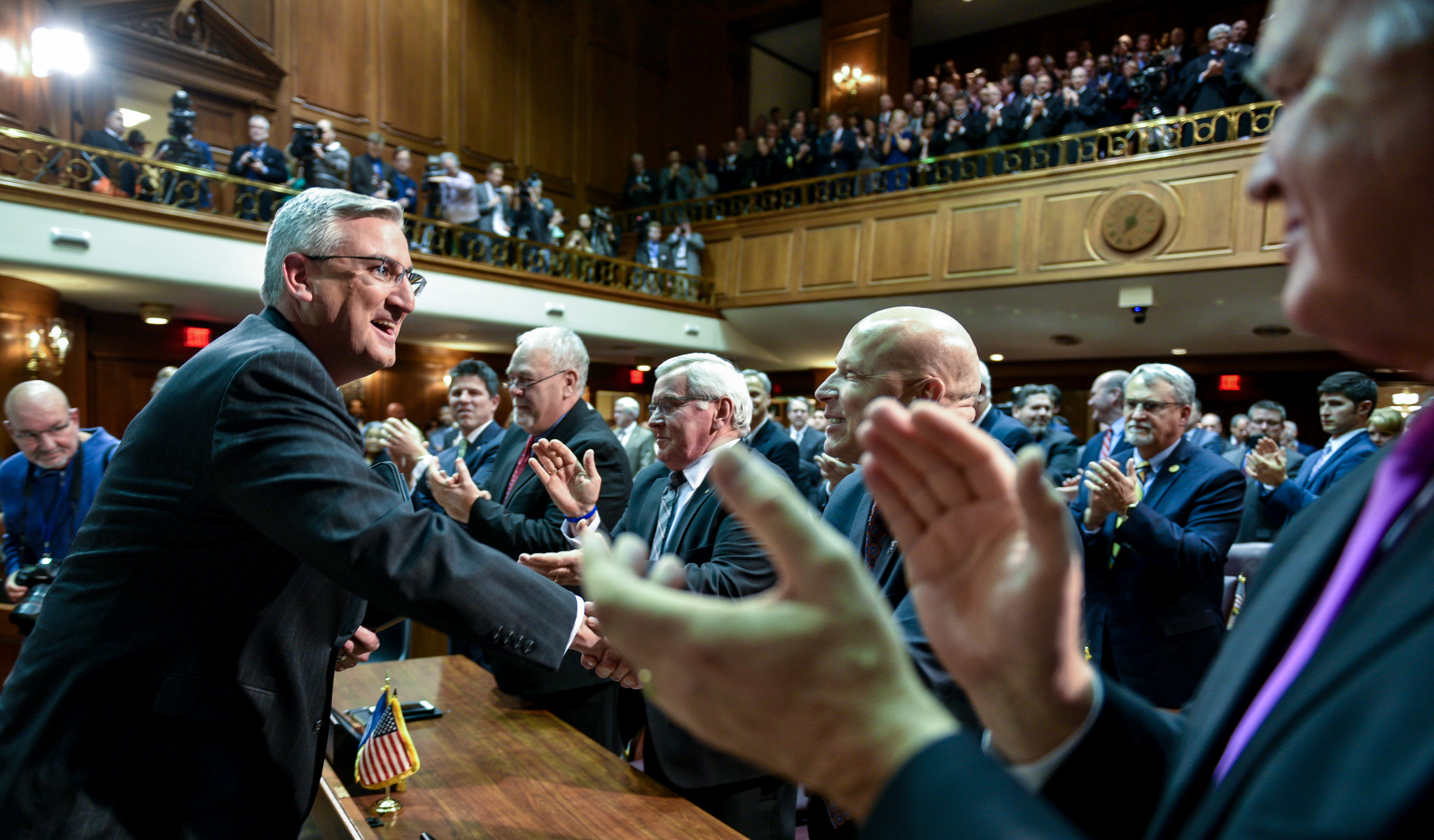 File Photo:. Gov. Eric Holcomb gives his 2018 State of the State address in Indianapolis on Tuesday, January 9, 2018.